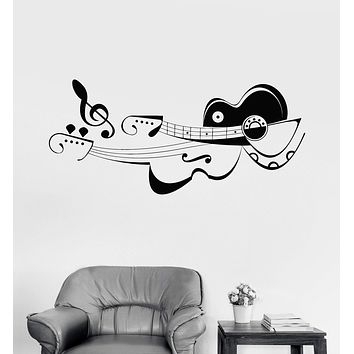 Vinyl Wall Decal Musician Guitar Violin Music School Shop Note Stickers Unique Gift (793ig)
