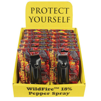 12 - WildFire 1/2 oz Leatherette Pepper Spray Black with Counter Display