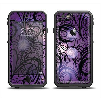 The Violet with Black Highlighted Spirals Apple iPhone 6/6s Plus LifeProof Fre Case Skin Set