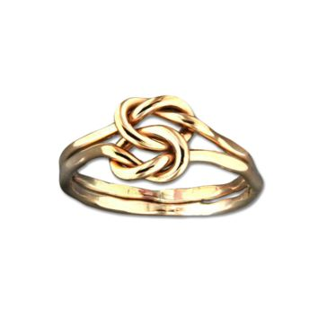 Love Knot Hammered Ring - Gold Filled