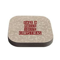 "Sylvia Cook ""Have A Holly Jolly Christmas"" Holiday Coasters (Set of 4)"