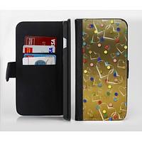 The Gold Hearts and Confetti Pattern Ink-Fuzed Leather Folding Wallet Credit-Card Case for the Apple iPhone 6/6s, 6/6s Plus, 5/5s and 5c