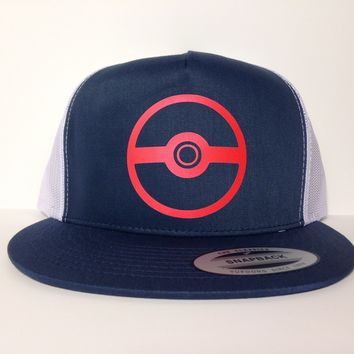 Pokemon Poke Ball Hat Blue Snapback