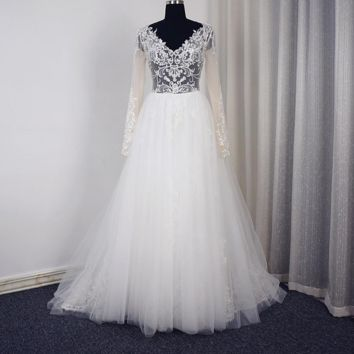 V Neck Long Sleeve Wedding Dress Romantic Tulle Lace Illusion Corset