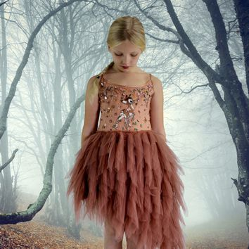 DOLLY by Le Petit Tom ® FAWN BAMBI tutu dress brown