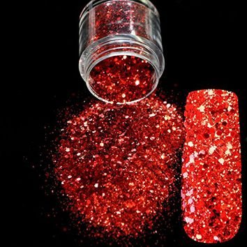 Red Glitter Nail Art Tool DIY Glitter Mix Manicure 3D Acrylic Powder Small Pentagon Sequins Nail Supplies...
