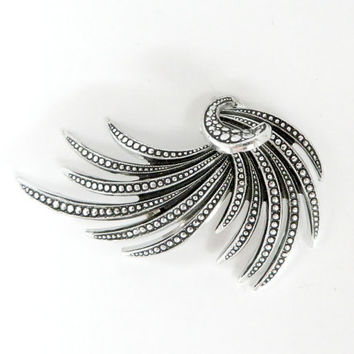 W. Germany Brooch, Vintage Marcasite Pin, Silver Tone Leaves Brooch