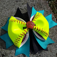 Softball Hair Bow - Custom Made to Order with Real Softball - Sports Team Colors