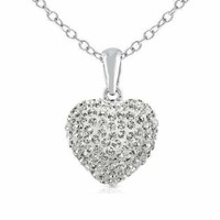 925 Sterling Silver Cubic Zirconia Cz Crytals Heart Pendant Large 15mm Heart ...