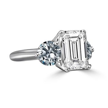 3.5ct Emerald Cut Stone Complimented with 1ct Round Stone on each side, three stones classic vintage style ring simulated diamond veneer®-diamond simulated engagement ring & simulated wedding ring set in sterling silver platinum electroplate 635r72118EC
