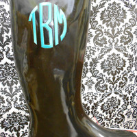 Monogrammed Black Rain Boots, font shown NATURAL CIRCLE