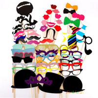 58PCS Colorful Props On A Stick Mustache Photo Booth Party Fun Wedding Favor Christmas Birthday Favor = 1946650628