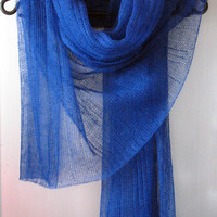 Linen Scarf Shawl Wrap Stole dark blue Multicolored Light Transparent SALE