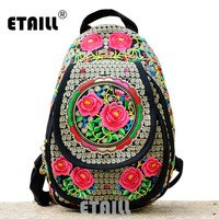Chinese Hmong Boho Indian Thai Embroidery Brand Logo Backpack Handmade Embroidered Canvas Ethnic Travel Rucksack Sac a Dos Femme