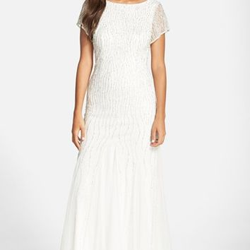 Women's Adrianna Papell Beaded Chiffon Overlay Gown,