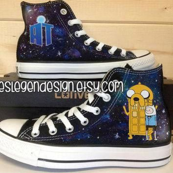 VONR3I Adventure Time Doctor Who Custom Converse / Painted Shoes