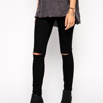 ASOS Jameson Low Rise Denim Jeggings In Clean Black with Ripped Knees