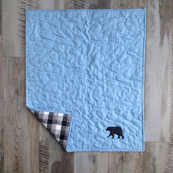 Ready to ship personalized baby quilt , Buffalo check plaid bedding, Bear quilt, Baby boy blanket, Baby boy quilt, Bear blanket, Plaid quilt