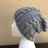 Cable Knit Hat in Gray for Women/Men, Unisex Slouchy Knit Beanie Hat **Ready To Ship**