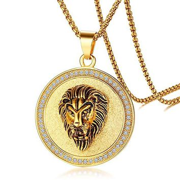 3D Lion Circular Crystal-dust Pendant Necklace in 14K Gold