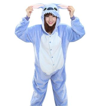 Blue Pink Stitch Pajama Set Women Men Unisex Adult Animal Pijama Flannel Onesuit  Sleepwear Hoodie Halloween Cosplay Costume