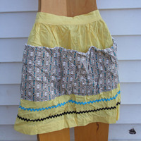 FREE SHIPPING - Yellow Apron/Vintage Apron/Waist Apron/ Clothes Pin Apron/Handmade Apron/Apron with Pockets