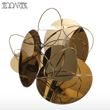 Tooarts  Golden Mirror Modern Figurines Home Decor Abstract Crafts Ornament Metal Sculpture Interior Home Decoration Accessories