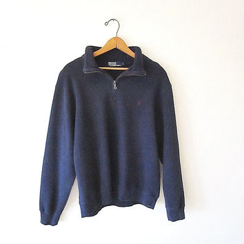 Vintage 90's RALPH LAUREN Navy POLO Embroidered Knit Quarter Zip Pullover Sweatshirt Sz Large