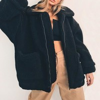 Relaxed Fleece Cardigan (Black)