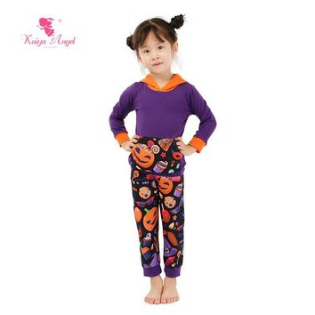 Kaiya Angel Girls Boutique Outfits Halloween Pumpkin Long Sleeve Shirt Pants 2 Piece Toddler Girl Clothing 1-8T