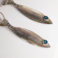 Big Fish Earring - Dangle Earings - Sterling  Silver - Handmade - Summer Jewelry