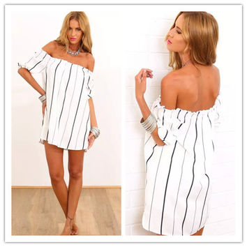 Fashion Casual Simple Female Stripe Off Shoulder Short Sleeve Backless Loose Mini Dress