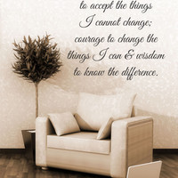 God Grant Me The Serenity To Accept The Things I Cannot Change Quote Vinyl Wall Decal Sticker