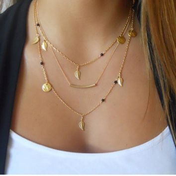 N832 Minimalist Necklace Bijoux Chain Beads Leaves Pendant Fashion Jewelry Multi Layer Necklaces for Women Collier accessories