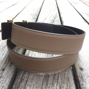 Handmade Reversible leather belt to fit 32mm Hermes buckles (size 95)