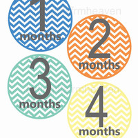 SALE Chevron monthly stickers- monthly bodysuit, milestone stickers, chevron baby sticker, baby belly stickers, first year stickers