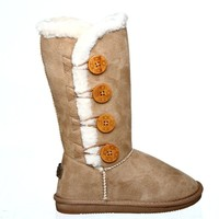 Fur Lined Mid-calf Snow Boots with Buttons (6, camelICE) [Apparel]