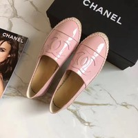 """""""Chanel"""" Fashion All-match Patent Leather Weave Loafer Flats Shoes Casual Genuine Leather Espadrilles Single Shoes"""