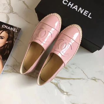 """Chanel"" Fashion All-match Patent Leather Weave Loafer Flats Shoes Casual Genuine Leather Espadrilles Single Shoes"