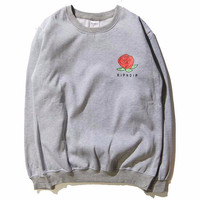 RIPNDIP Red Rose Grey Crew Neck Sweatshirt