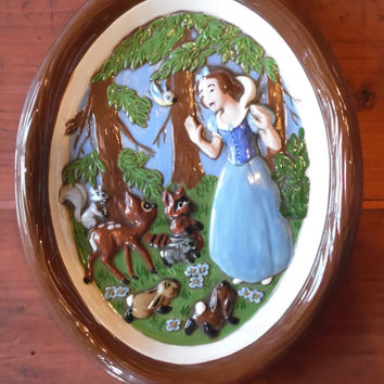 FREE SHIPPING - Snow White Picture/Disney Princess Picture/Vintage Disney/Ceramic Snow White Picture/Princess Decor/Snow White/Walt Disney
