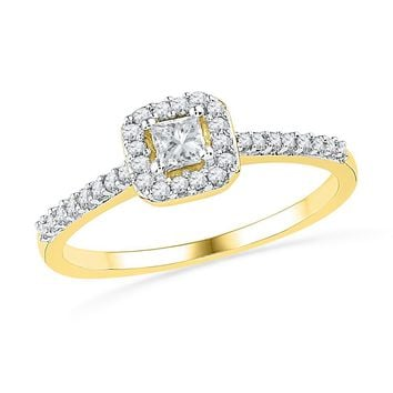 10kt Yellow Gold Womens Princess Diamond Solitaire Square Halo Bridal Wedding Engagement Ring 1/4 Cttw
