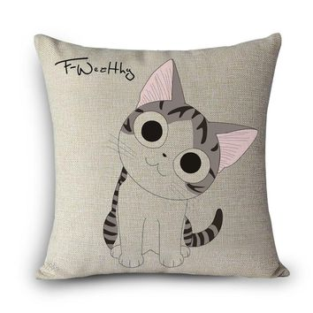 Hot sale 12 kinds cushions cute cat Print Home Decorative Cushion Throw Pillow Vintage Cotton Linen Square Pillows MYJ-D4