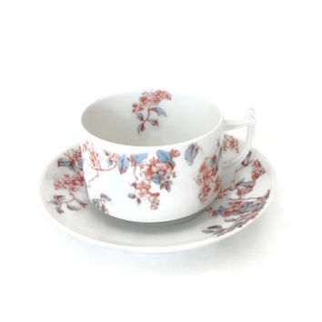 Vintage Tea Cup and Saucer, Antique Tea Cup, Porcelain Tea Cup, Vintage Tea Cup, Collectible Teacup Limoges France, Made in France