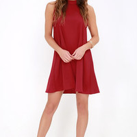 Sway Time Wine Red Swing Dress