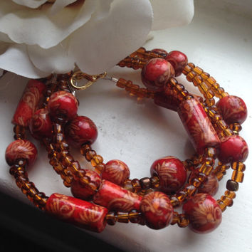 Handmade 4 Strand Beaded Bangle Bracelet - BOHO Ethnic African Influence Hand Painted Burnt Red Wood Beads w Amber Accents - Free Shipping