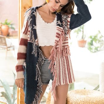 Patriotic Star Fringed Woven Mohair Cardigan