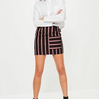 Missguided - Tall Exclusive Black Striped Pocket Front Skirt