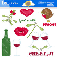 Mistletoe and Wine Digital Clipart. Christmas Clip Art for Instant Download. Xmas Clipart. Christmas Clip Art. Mistletoe Clipart.
