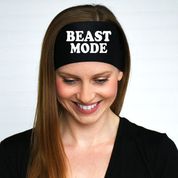 Workout Headband | Beast Mode Headband | CrossFit Headband | Running Headband | Fitness Headband | Graphic Headband | Black Stretch headband